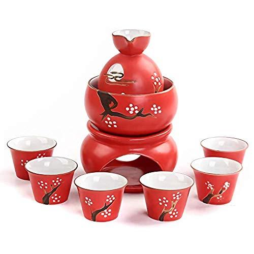 Ensemble de 9 verres à saké en céramique émaillée rouge avec pot plus chaud et cuisinière à bougie pour service chaud / froid / thé Meilleur cadeau pour la famille et les amis Ensemble de saké pour