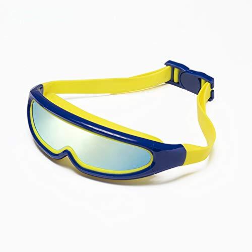 Gafas de natación para niños, antivaho y sin Fugas Gafas de natación para niños, Correa Ajustable, diseño de Puente Nasal Flexible, Gafas de natación de visión Amplia para niños,Azul