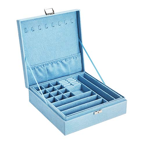 SONGMICS Jewelry Box, Storage Organizer with a Removable Tray and Compartments for Earrings, Necklaces, Bracelets, Watches, Light Blue