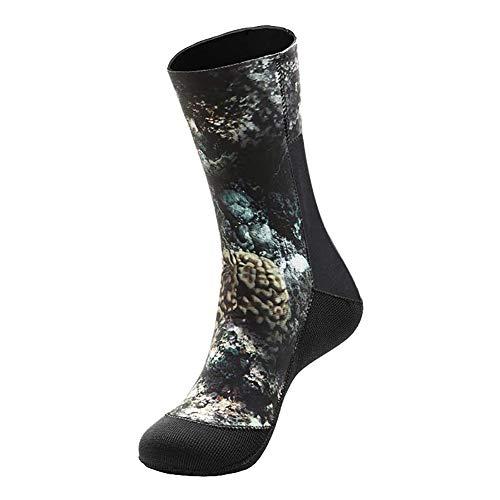 Calcetines de neopreno para traje de neopreno, botines de surf para hombres y mujeres, botas de buceo de 3 mm y 5 mm, botines de natación, calcetines con aletas para bucear en la play (5mm Camo, S)