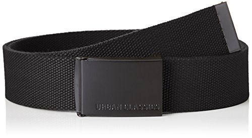 Urban Classics Canvas Belts Cintura, Nero, Taglia Unica Unisex-Adulto