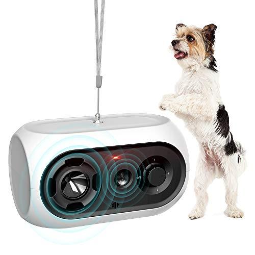 Queenmew Ultraschall-Anti-Barking-Gerät,Rindenstopper Wiederaufladbar,Sonic Dog Barking Control Abschreckung,Wasserdichtes Hundeverhaltenstrainingstool Hundeabwehr Sicher und Menschlich