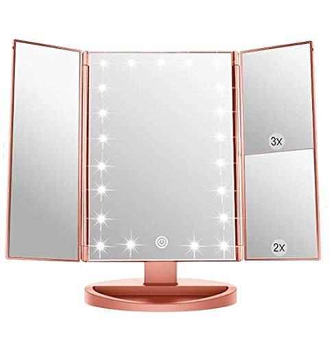 Espejo de Maquillaje con LED,Espejo de Maquillaje Tríptico con Aumento 1x, 2X, 3X, Espejo Cosmético Pantalla Táctil en Iluminacíon 21 Led, Adjustable 180º (Oro Rosa)