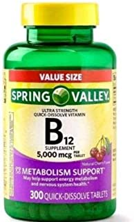 Spring Valley B12 5000mcg 300ct Metabolism Support