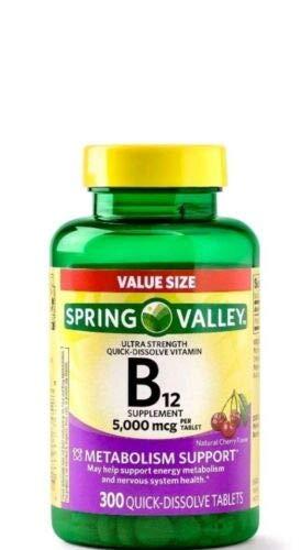 Spring Valley B12 5000mcg 300ct Metabolism Support
