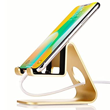 Premium Adjustable Cell Phone Mobile Holder Flexible Stand,Jokitech S1 Portable Universal Tabletop Desk Leather CellPhone Stands for Android Apple iPhone X 8 8Plus Accessories Samsung Galaxy -Gold