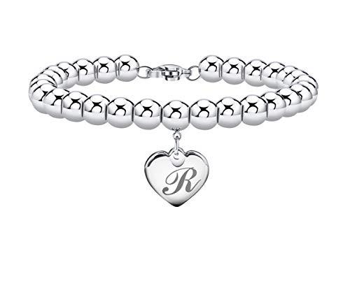 Initial Bracelet for Women Heart Tag Bead Bracelet Letter R Bracelets Birthday Gifts