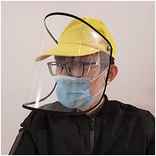 Anti-Spucken Schutz Mütze Baseball-Mütze Unisex Schutz Hut mit transparentem Gesichtsschutz Staubdichtes windundurchlässiges Sand Windschutzscheibe Hut für Erwachsene, Frauen, Männer,B