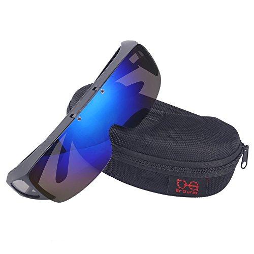 Br'Guras オーバーグラス 偏光サングラス メガネをかけたまま対応のサングラス 跳ね上げ式 UV400 紫外線カット サイクリング、釣り、ランニング、野球 格好いいサングラス! (ブルー)