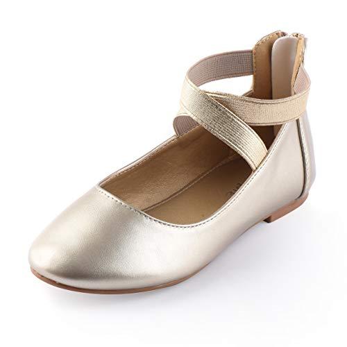Nova Utopia Toddler Little Girls Dress Ballet Elastic Ankle Strap Flat Shoes,NF Utopia Girl NFGF316 Gold 13