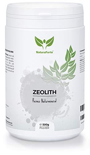 NaturaForte Zeolith Pulver 500g - Klinoptilolith 95%, Extra fein gemahlen in Premium Qualität, ohne Zusätze, Reines & naturbelassenes Vulkangestein, geprüft und kontrolliert in Deutschland