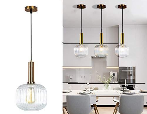 Modern hängande lampa i glas med en vintage mässingslamphållare, takbelysning glasarmatur, det perfekta hängljuset för bar restaurang kafé och hemmabruk, diameter 20 cm, 1ljus