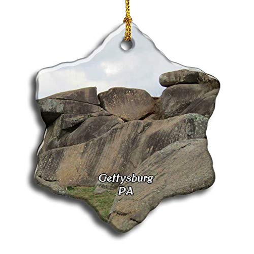 'N/A' Gettysburg Devils Den Pennsylvania USA America Christmas Ceramic Ornament Xmas Tree Decor Souvenirs Double Sided Snowflake Porcelain Home Gifts