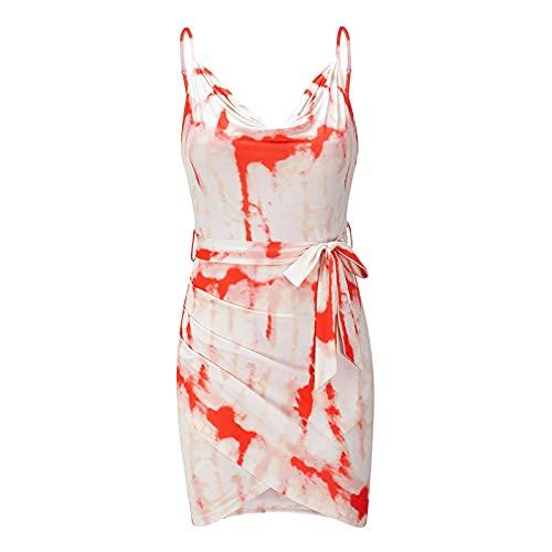 Verano Nuevo Vestido de Tirantes para Mujer Vestido de Noche Elegante con diseño de Falda con cinturón Floral Sexy S-2xl