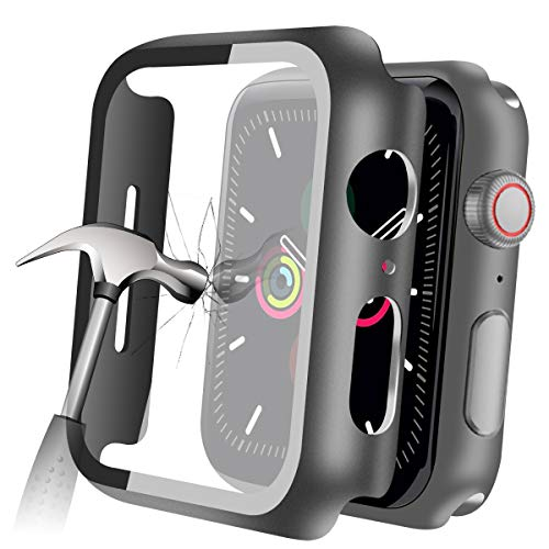 YMHML Compatible with Apple Watch 42mm Series 3/2/1 Case with Built-in Tempered Glass Screen Protector, Thin Guard Bumper Full coverage Hard Cover for iWatch Accessories