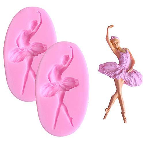 DUBENS 2 Stück 3D Silikon Tanzen Ballett Mädchen Form DIY Form Handgemachte Seife Schokolade Sugarcaft Candy Fondant Backform Kuchen Dekorieren Werkzeuge, Rosa