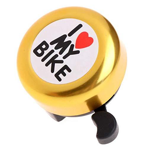 ADDFOO Campana de Bicicleta -' I Like My Bike'Bocina de Bicicleta - Anillo de Aluminio Fuerte Accesorios de Bicicleta para Bicicletas de Adultos Hombres Mujeres Ninos Chicas(Amarillo)