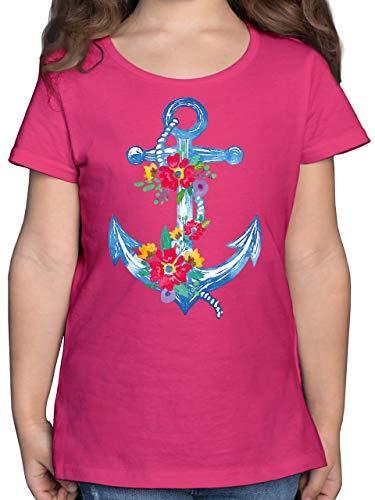 Up to Date Kind - Blauer Anker mit Blumen - 104 (3/4 Jahre) - Fuchsia - Statement - F131K - Mädchen Kinder T-Shirt