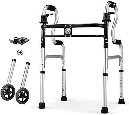 Rollator Walker Medical Walker per anziani e adulti Walker pieghevole Deluxe 2 pulsanti con ruote anteriori da 5 pollici, telaio in lega di alluminio, altezza regolabile (colore predefinito)