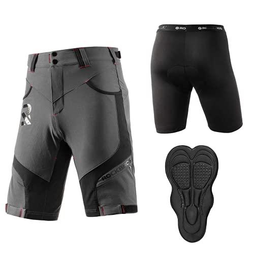 ROCKBROS Pantalones Cortos con 4D Acolchado y Ropa Interior para Ciclismo Bicicleta MTB Deportes Secado Rápido para Hombres