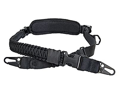 Hongmei Outdoors 550 Paracord 2 Point Rifle Sling Adjustable Gun Strap with Shoulder Pad Traditional Two Point Sling with Upgraded HK Hook