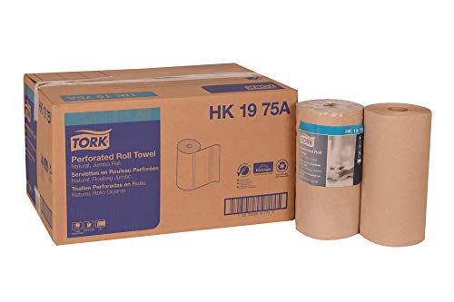 """Tork HK1975A Perforated Roll Towel, Jumbo Roll, 2-Ply, 11"""" Width x 9"""" Length, Natural, Green Seal Certified (Case of 12 Rolls, 210 Per Roll, 2,520 Towels)"""