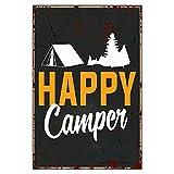 BYRON HOYLE Cartel de metal vintage para decoración de pared, diseño de campamento de verano con texto en inglés 'Happy Camper'