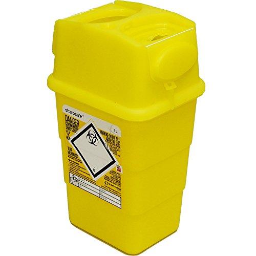 qualicare Sharpsafe Nadel Spritze Insulin Entsorgung Operation Mülleimer Box-1Liter, Einzelpackung
