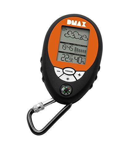 DMAX Mobile 6in1 Wetterstation mit Karabinerhaken für Hose oder Rucksack mit Anzeige für Temperatur, Luftfeuchtigkeit, Luftdruck und barometrischer Höhenmesser inklusive Kompass