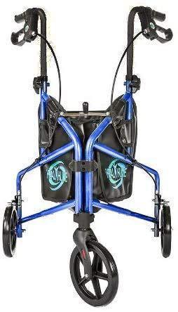Rollator Walker Aluminum 3 Wheel for Seniors, Foldable Lightweight Three Wheel Walker Traveler Mobility Rollator 3 Wheels Walker with Basket Tray, Pouch, Brakes, Narrow Walker for Small Spaces (Blue)