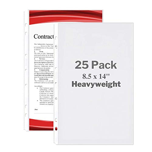 """Dunwell Legal Size Sheet Protector - (Heavyweight, 25 Pack), 8.5x14"""" Legal Paper Sleeves, 7 Hole Punched Fits 3-Ring Binder or 4 Ring Legal Size Binder, Clear Archival Quality, Long Sheet Protectors"""