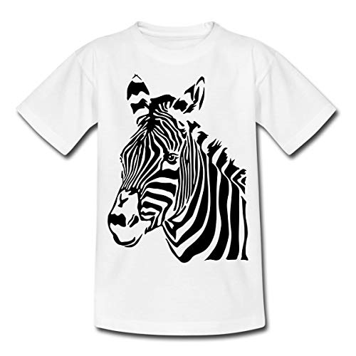 Zebra Porträt Zebrakopf Kinder T-Shirt, 122/128 (7-8 Jahre), Weiß