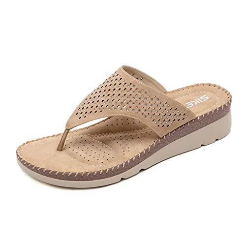 Nuevo 2019 Zapatos de Sandalias Casuales para Mujer Cuña Bohemia Rhinestone Plegable de Gran tamaño cómodas Sandalias (Color : Albaricoque, Tamaño : 37)