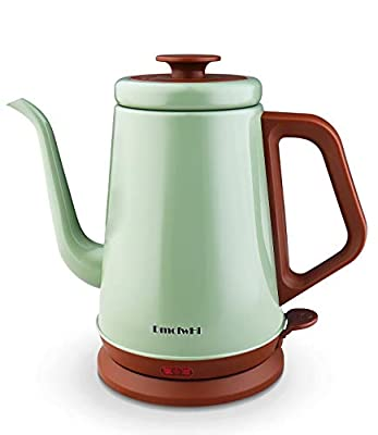 DmofwHi Gooseneck Electric Kettle(1.0L), 100% Stainless Steel BPA Free Classic Pour Over Coffee Kettle|Portable Cordless Teapot - Azure