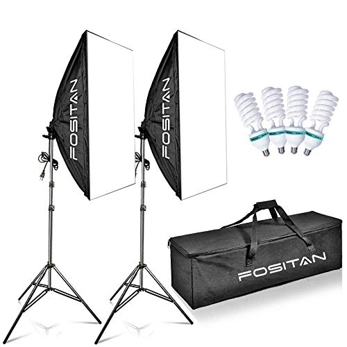 FOSITAN 50x70cm Professionale Softbox Kit 1600W 5500K Illuminazione Continuo kit Incluso 2M Light Stand e 4x E27 85W CFL Bulbs per Studio Fotografico,Fotografia di Prodotti e Ripresa di Video