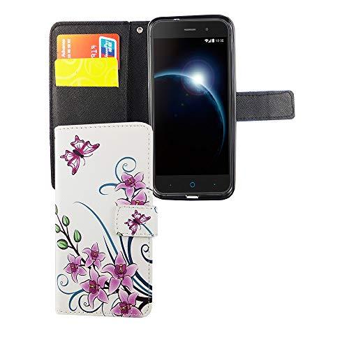 König Design Handyhülle Kompatibel mit ZTE Blade V6 Handytasche Schutzhülle Tasche Flip Case mit Kreditkartenfächern - Lotusblume Pink Weiß