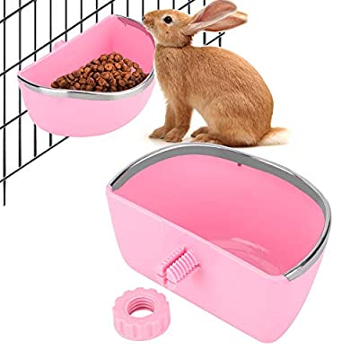 HEEPDD Rabbit Food Bin Feeder, Pet Semicircular Food Bowl Rabbits Prevent Biting Container Small Animal Feeding Drinking Fixed Box(red) by HEEPDD