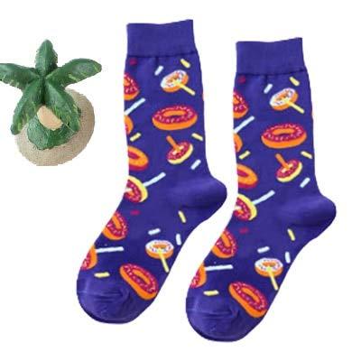 2 Pares de Calcetines Felices Divertidos Masculinos/Femeninos con Estampado artístico Calcetines de Invierno Lindos con Calcetines de Moda de algodón de Comida de Sushi de Aguacate-a27-37-43
