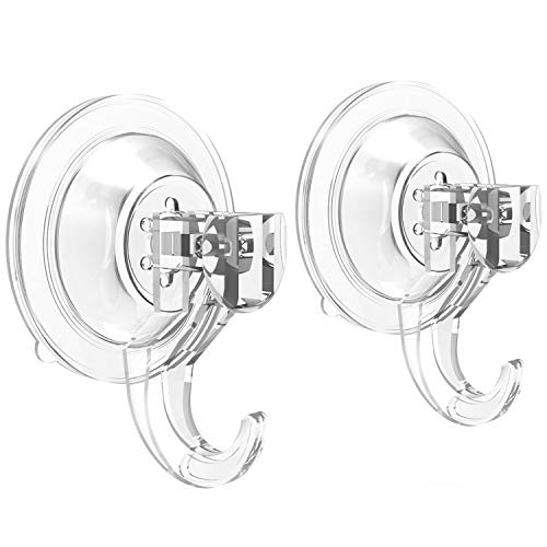 Suction Cup Hooks - Quntis Powerful SuperLock Suction Hooks (2 Pack) Heavy Duty Vacuum Suction Shower Hooks Wreath Hanger Kitchen Bathroom Window Hooks for Towel Loofah Sponge Christmas Wreath, Clear