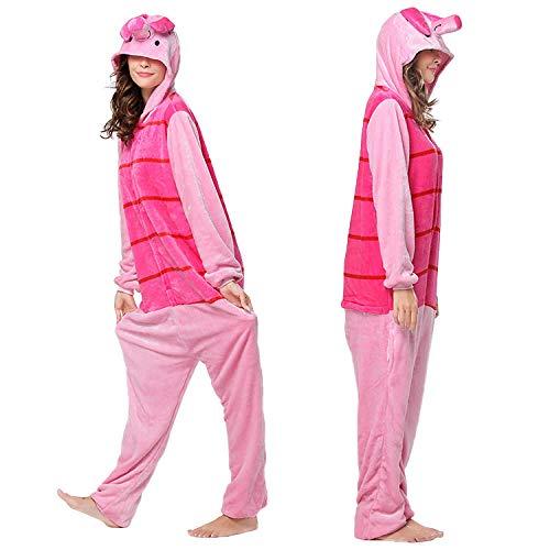ZJXSNEH Disfraz De Animal Unisex para Adulto Sirve como Pijama O Cosplay Sleepsuit De Una Pieza Cerdito Rosa Oscuro