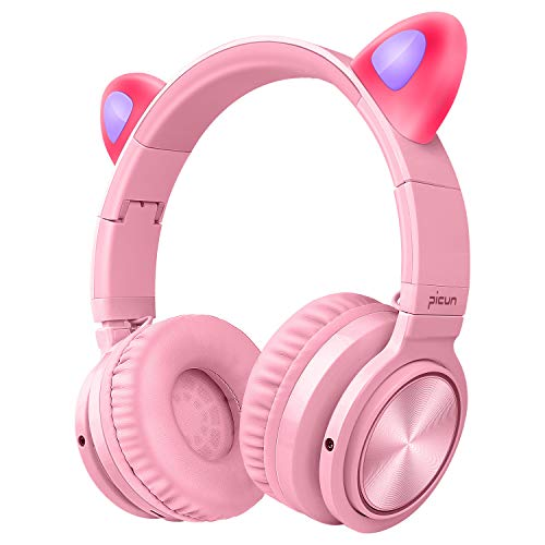 Picun Cat Kids Bluetooth Headphones Wireless Over Ear, 40H Playtime Cat Ear Light Up Foldable Headphones with Built-in MIC and Volume Control for Cell Phones Laptop/PC/TV Kids Boys Girls Friends, Pink