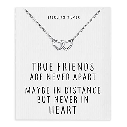 Philip Jones Sterling Silver True Friends Heart Link Necklace with Quote...