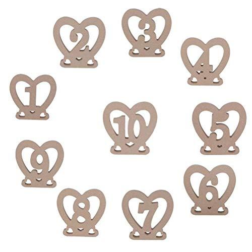 Numeri da tavolo in legno da 1 a 10 Numeri da tavolo per matrimoni a forma di cuore Stand per decorazioni per feste di matrimonio