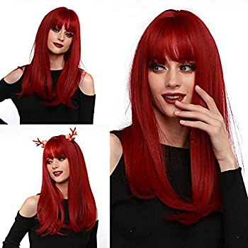 FRAYSMI Long Straight Hair Wigs Natural Red Heat Resistant Fiber Hair Full Machine Wig with Bangs Cosplay Party Wig For Fashion Women 24  Natural Red