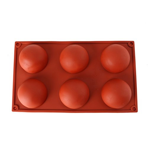 VOYEE 6 Cavity Half Circle Silicone Mold for Making Delicate Chocolate Desserts Ice Cream Bombes Cakes Soap Resin Items