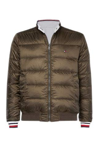 Tommy Hilfiger Reversible Down Harrington Giacca, Verde (Olive 052), Small Uomo
