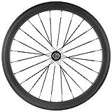 ZLYY 700C Roues Carbon Logo personnalisé 38mm 50 mm 60mm 88mm Carbone Vélo Route Roues Clincher Carbon Wheelset (Color : 1PCS 50MM Rear Wheel)