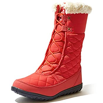 DailyShoes Ladies Zip up Winter Boots Women s Comfort Round Toe Snow Boots Winter Warm Ankle Short Quilted Lace Up Hiking Shoes Running Backpacking Walking High Eskimo Fur Snow-01 Red Nylon 6.5