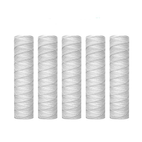 Lafiucy 5 Micron 10' x 2.5' String Wound Sediment Water Filter Cartridge,5 Pack,Whole House Sediment Filtration, Universal Replacement for Most 10 inch RO Unit