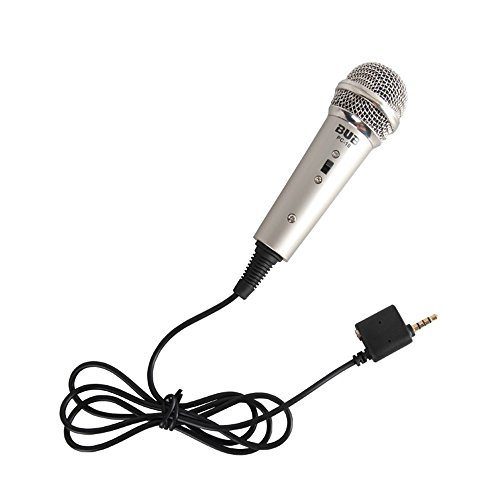 Megadream Multimedia Portable Home Studio Sound Recording Condenser Wired Mini Microphone with 3.5mm plug and Stand Mount for Apple iPhone iPad IOS Android Mobile Phones Smartphones PC Tablets-Grey